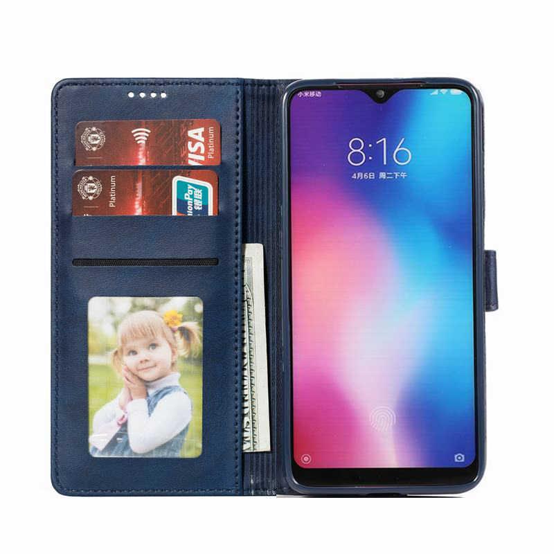 Kasus untuk Xiao Mi Mi 9 Se 9se Cover Case Mewah Vintage Polos Magnetic Flip Dompet Kulit Ponsel Tas xio Mi Mi 9se 9 Se Tritone