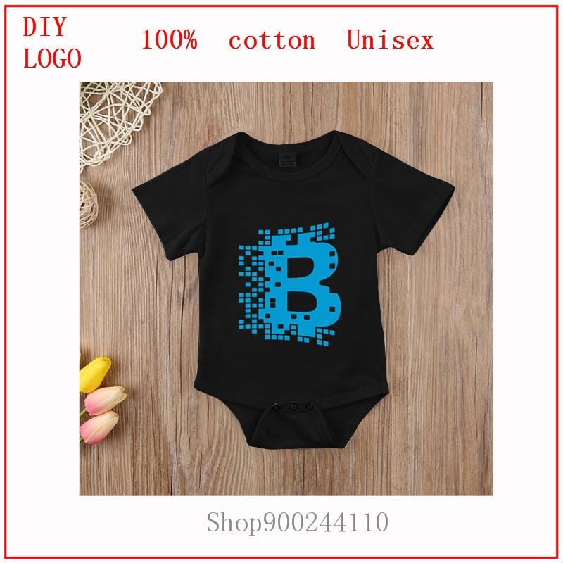 Infant Newborn Baby Girls Boys Short Sleeve Bitcoin Cryptocurrency Blockchain letter Print Romper Jumpsuit bodysuits baby Summer 1