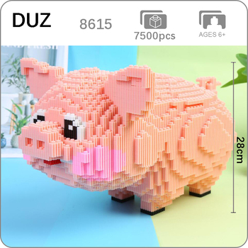 DUZ 8615 Cartoon Pink Cute Pig Swine Animal Pet 3D Model DIY Mini Building Blocks Bricks Toy for Children 28cm tall no Box