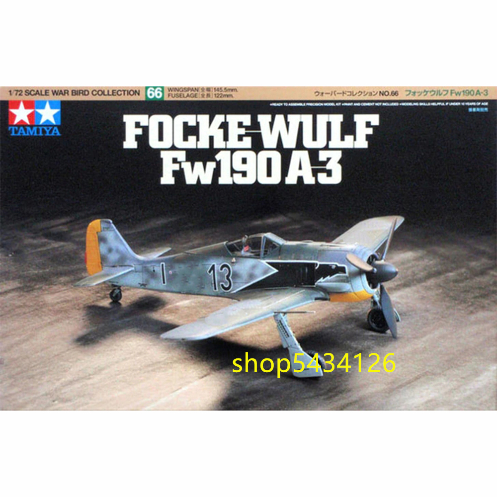 Tamiya 60766 Aircraft Model Building Kits 1/72 FOCKE WULF FW190 A-3 Airplane Toys For Children & Adults image