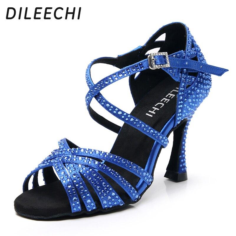 DILEECHI Women Party Dance Shoes Satin Shining Rhinestones Soft Bottom Latin Dance Shoes Black/Blue Salsa Dance Shoes Heel 9cm