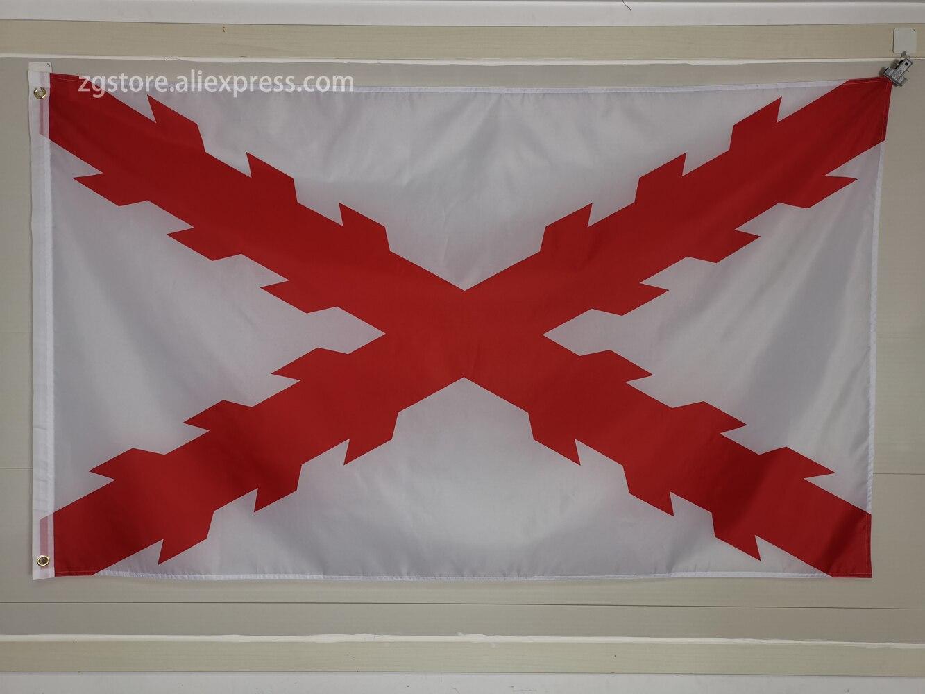 Cross of Burgundy Flag Spain Spanish Ensign Flag 3X5FT 150X90CM Banner Metal Holes Grommets