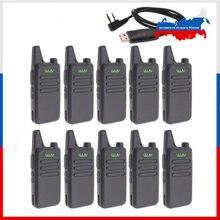 10 pces wln KD-C1 mini walkie talkie uhf 400-470 mhz 5w potência 16 canal mini-handheld transceptor melhor então BF-888S
