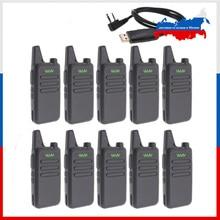 10pcs custodia in pelle WLN di KD C1 Mini Walkie Talkie UHF 400 470 MHz 5W di Potenza 16 Canali MINI handheld transceiver Meglio Allora BF 888S