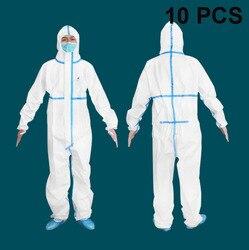 10 stücke Schutzanzüge Kleid Anti-Bakterien Schutz Anzug Kleidung