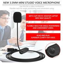 2.3M 3.5mm Black Mini Studio Speech Mic Microphone Clip On Lapel for PC Notebook high quality special black hands free clip on 3 5mm mini studio speech microphone