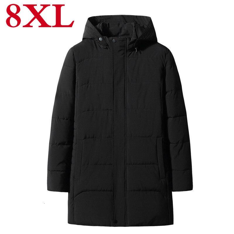 Plus Size 8XL 7XL 6XL Winter Jacket Men Hat Detachable Warm Coat Causal Parkas Cotton Padded Winter Jacket Men Clothing