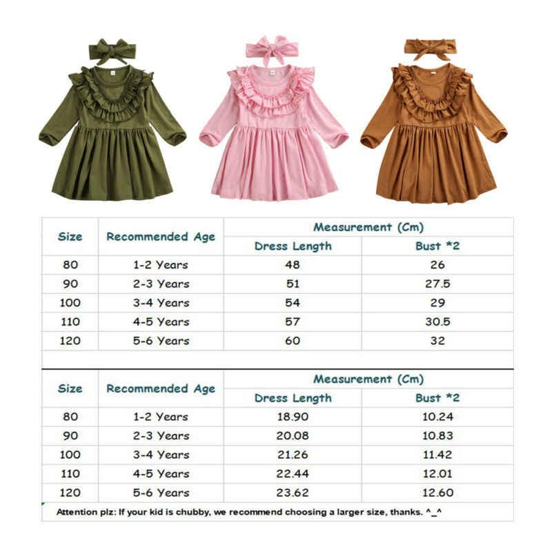 1-6Y Bambino Del Bambino Dei Bambini Del Bambino Delle Ragazze Del Vestito Increspature Manica Lunga Partito Solido casual Vestito Della Fascia Vestiti di Abiti