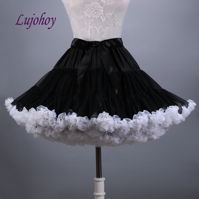 Black And White Short Lolita Petticoat For Wedding Dress Woman Tutu Bridal Underskirt Girls Jupon Crinoline Pettycoat
