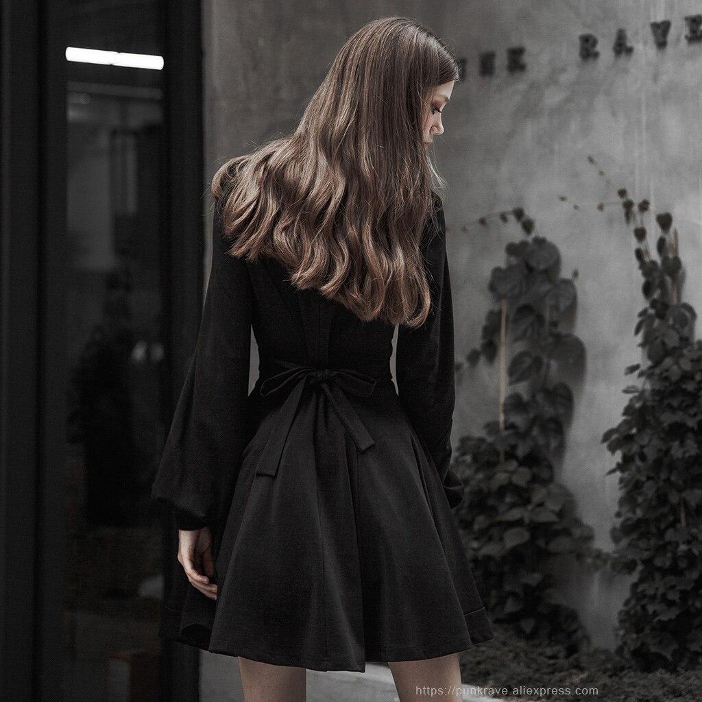 Панк RAVE женское готическое платье с высоким воротником и сборкой талии, вязаный пояс, сборная Талия, сексуальное ретро платье с рукавами-фон...
