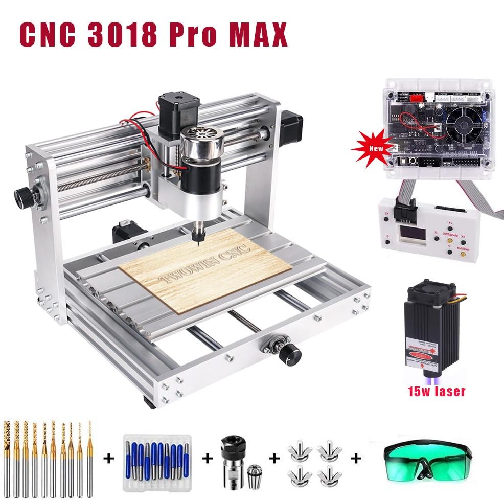CNC 3018 graveur maximum, 5500mw/10w/15w grande puissance laser, contrôle GRBL avec 200W broche bricolage CNC machine 3 axes PCB fraiseuse