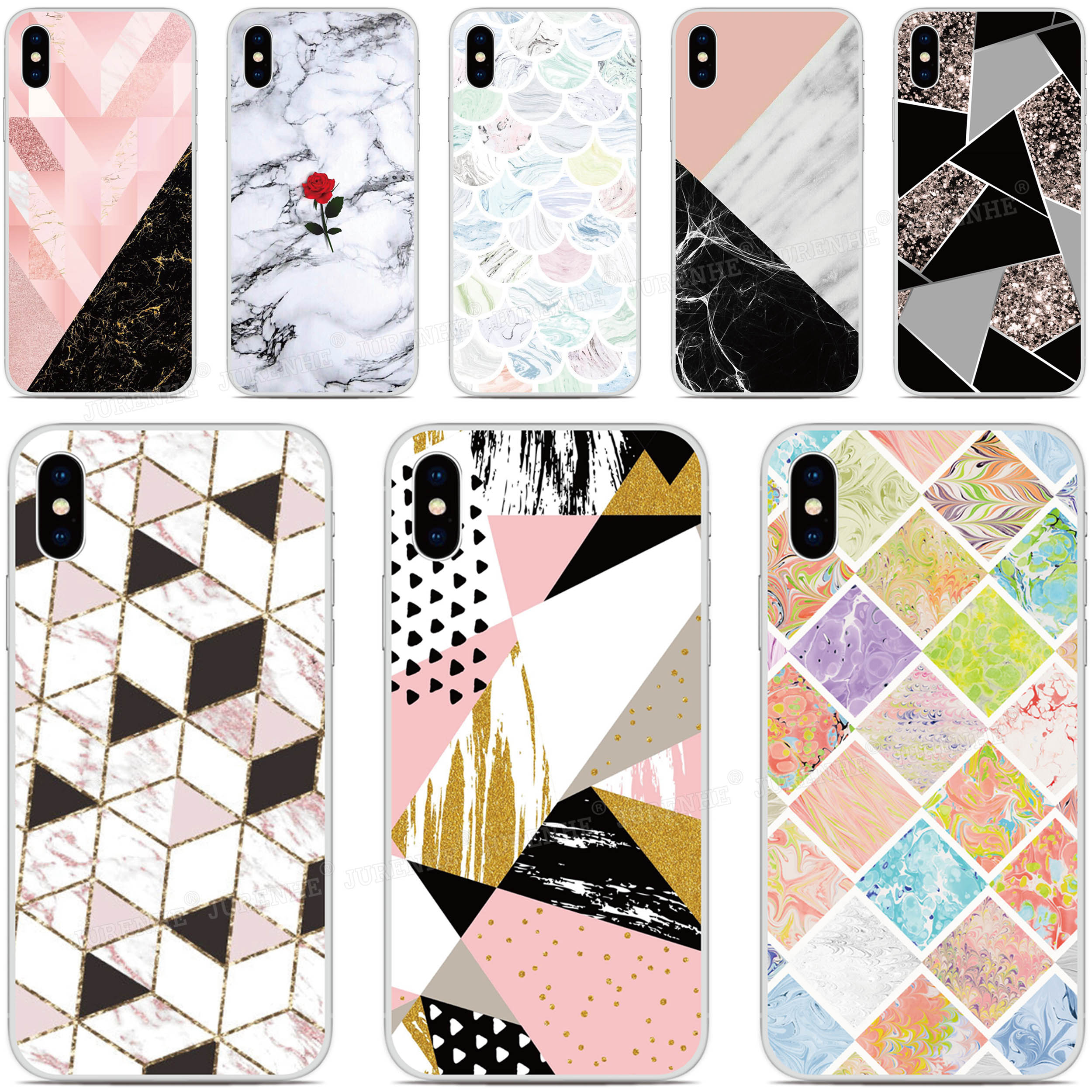 Geometric Marble Phone Case For OPPO Realme X50 5 6 Find X2 Reno A Ace 3 Pro K1 A92S A91 A52 A72 AX7 A5S A31 A8 A9 A5 2020 Cover image