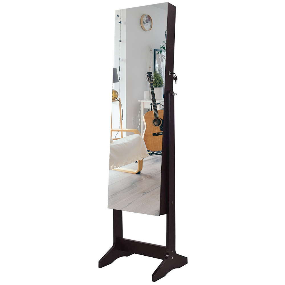 【US Warehouse】Full Mirror Wooden Floor Standing 4-Layer Shelf With Inner Mirror Jewelry Storage Adjustable Mirror Cabinet - Dark