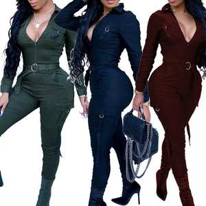 Bodycon Jumpsuit Romper Long-Sleeve Vintage Sexy Women Ladies Army-Green V-Neck Solid