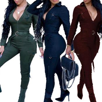 Sexy Women Bodycon Jumpsuit V-neck Long Sleeve Army Green Solid Casual Bodysuit Ladies Vintage long Romper