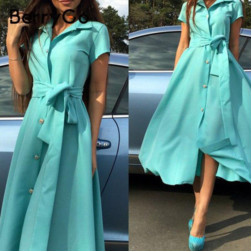 BerryGo Elegant Women V-neck Office Dresses Ladies A Line Solid Buttons Long Summer Dress Daily Style Female Work Dress Vestidos
