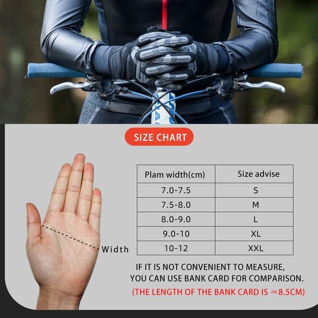 Rockbros luvas de ciclismo outono inverno à prova vento sbr tela toque da bicicleta luvas mtb respirável dedo cheio esporte à prova choque 6