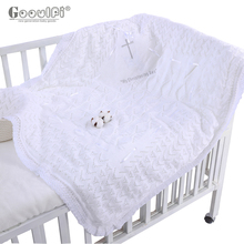 Gooulfi Bless New born Baby Blankets Unisex Christening Soft Kids Knitted Blanket Solid White Baptism Lace Baby Bedding