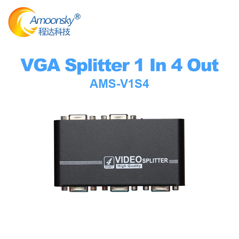 V1S4 vga splitter 1x4 1 in 4 out <font><b>450mhz</b></font> device 1920*1440 4 port vga video splitter duplicator image
