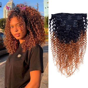 Kinky Curly Clip In Human Hair Extensions Brazilian Remy Human Hair pieces 8 Pcs/Set Afro Jerry Curl Hairpieces For Black Women