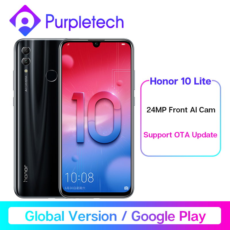 "Global Version Honor 10 Lite Smartphone Kirin 710 Octa Core  6.21"" 2340X1080P 24MP Front Camera Mobile Phone Android 9 OTA"