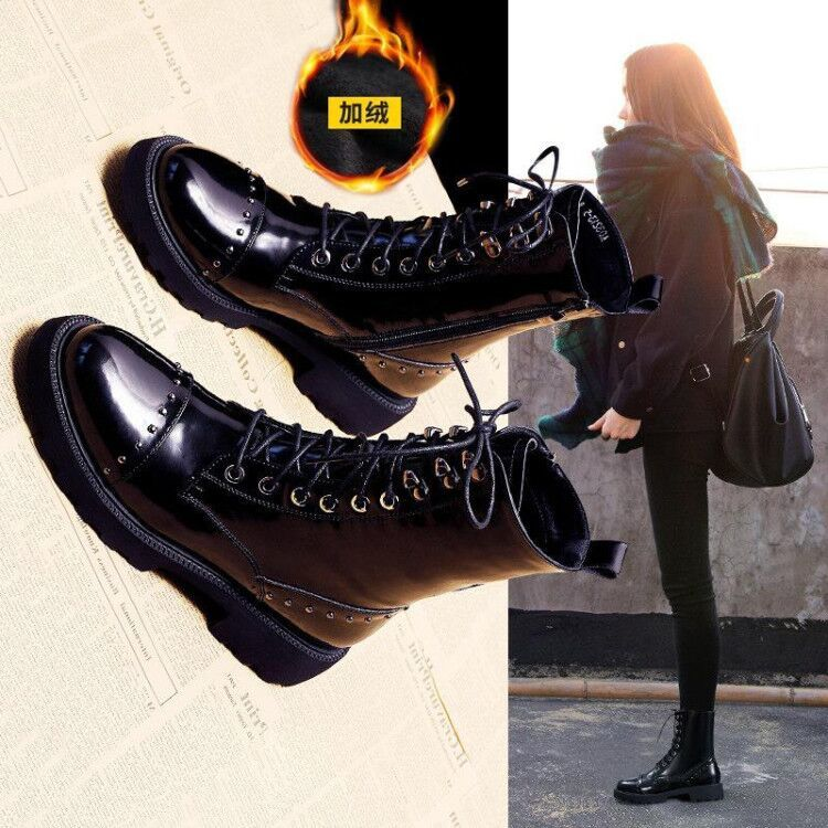 Autumn Winter Flat Patent Leather Women's Short Boots All-match Plus Velvet British Style Short Non-Slip Motorcycle Boots