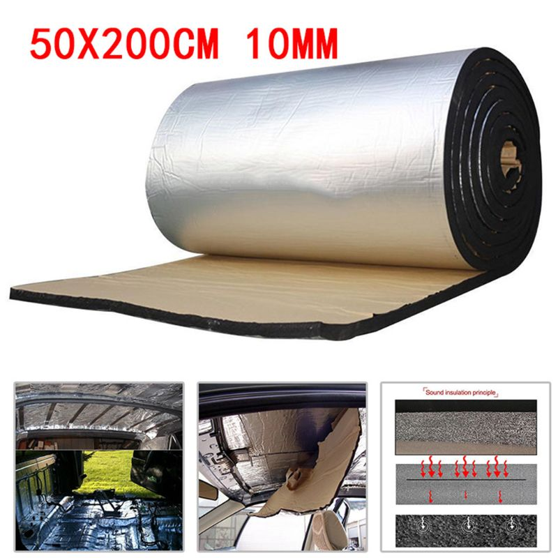 50x200cm 10mm Car Sound Deadener Mat Noise Bonnet Insulation Deadening For Hood Engine Sticker