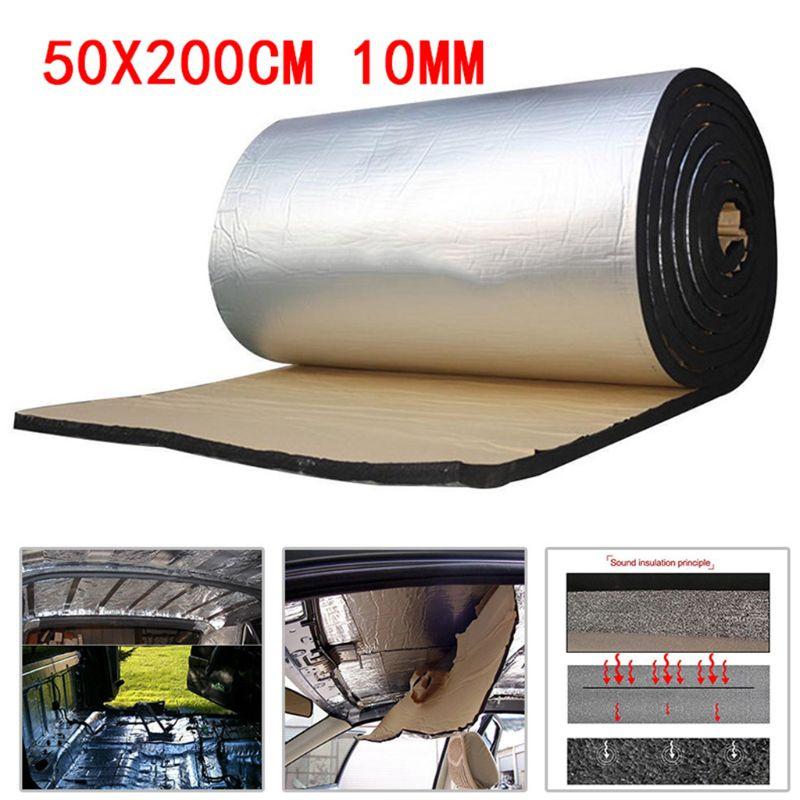 50x200cm 10mm Car Sound Deadener Mat Noise Bonnet Insulation Deadening for Hood Engine Sticker|Sound & Heat Insulation Cotton| |  - title=