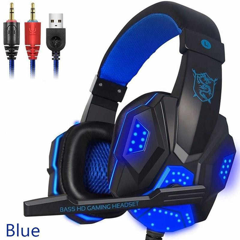 Timur Vita PC780 Gaming Headset Earphone Wired Gamer Headphone Suara Stereo Headset dengan MIC LED Light untuk Komputer PC Gamer