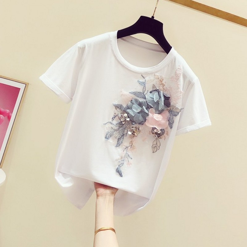 Floral T Shirt Women 2020 Spring And Summer New Handmade Embroidered Sequin Stereo Flower Short-sleeved Round Collar T-shirt T