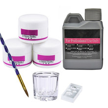 7/conjunto de acrílico em pó cristal unha arte dicas de polímero construtor manicure acrílico líquido prego arte uso profissional diy acrílico 3dmold
