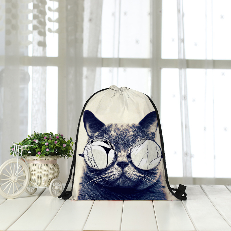 Backpack Bag Cat Shopping Receiving Rope 3D Digital Printing Bundle Bag Wholesale  Drawstring Bag Women Men Fashon Fashion New