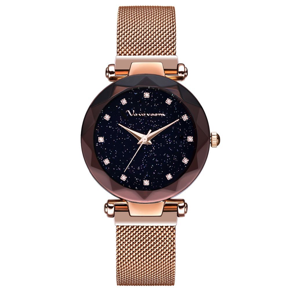 ARLANCH Fashion Korean Version With Trend Magnet Milan Magnetic Buckle Mesh Band Watch Star Pink Diamond Women Waterproof Watch