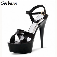 Sorbern Fashion Women Sandals 15Cm 17Cm 18Cm 20Cm High Heel Platform Summer Shoes For Ladies New 2020 Ankle Strap Custom Colors(China)