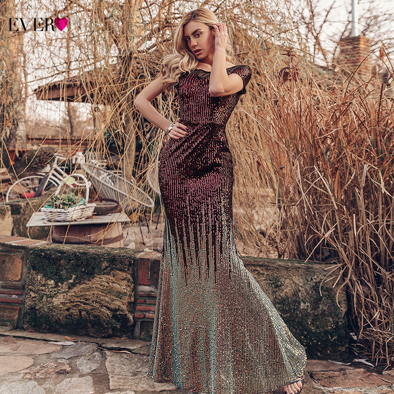 Luxury Mermaid Prom Dresses Ever Pretty Sequined Short Sleeve O-Neck Sparkle Arabic Sexy Formal Party Gowns Vestido De Fiesta