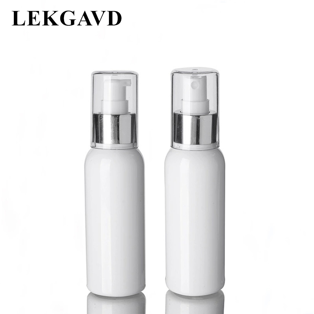 1PC 100ml White Spray Bottle with Alumina Cover PET Plastic Emulsion Bottle Travel Packaging Refillable Empty Bottle Wholesale