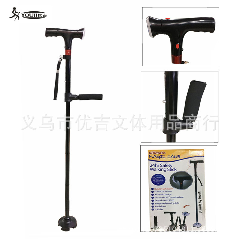 Cross Border For Amazon Walking Stick TV Walking Stick For The Elderly Shuang Fu Play Help Wand Lamp Alert