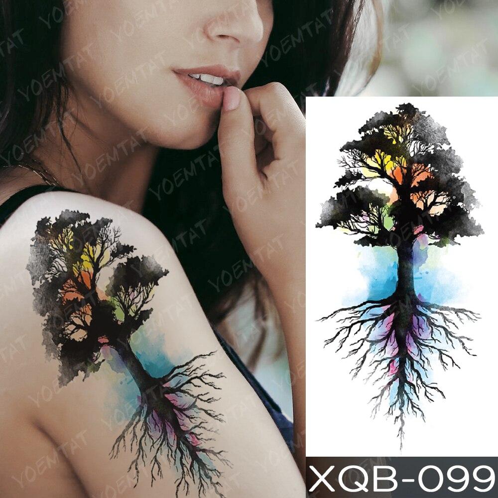 Waterproof Temporary Tattoo Sticker Blue Ice Dragon Plum Blossom Flash Tattoos Family Tree Fox Body Art Arm Fake Tatoo Women Men 5