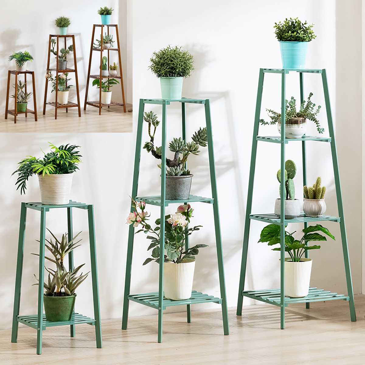 4 kat sadelik Metal standı bitkiler için iniş tipi ışık savurgan çok katlı raf kapalı saksı çerçeve çiçek standı