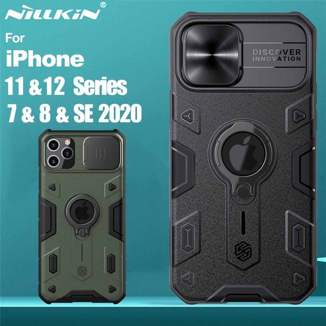 For iPhone 12 11 Pro Max Mini 7 8 SE 2020 Case NILLKIN CamShield Armor Cases for iPhone 11 Pro Max Cover With Ring Kickstand