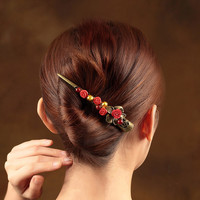 Vintage Cinnabar Flower Hair grips Head Jewelry Fine Coloured glaze Large Barrettes Chinese Ethnic Hair Pins Head Ornaments