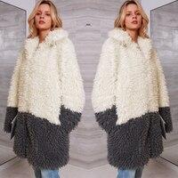 Wool Overcoat Soft Outerwear Casual Women Coat Warm Loose Contrast Color Artificial Fur Long Sleeve Wadded Jacket Femme Tops