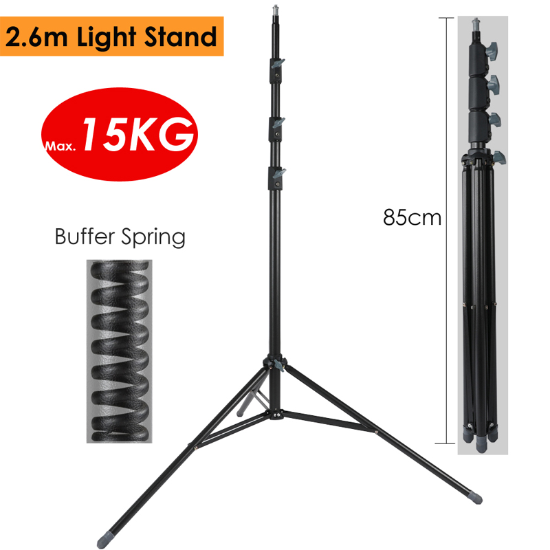 "2.6m/102.36"" Heavy Duty Light Stand Max Load 15KG W/ Buffer Spring Protection Steel Metal Photography Tripod For Video LED Lamp"