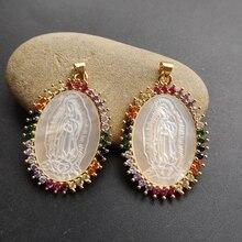 10ชิ้น/ล็อต25X35มม.Micro Pave AAA CZ Natural Virgin Of Guadalupeจี้Mother Of Pearl Guadalupeแม่pearl Charms