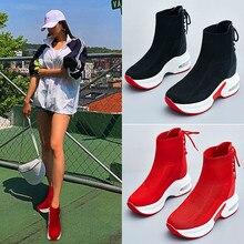 Requintadas meias elásticas altas botas femininas plataforma tênis alto para ajudar meias sapatos respirável sapatos femininos vulcanizados