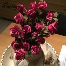 Longitud 55cm 5 piezas Rosa rojo púrpura flor Artificial decoración de boda regalo de San Valentín flor falsa
