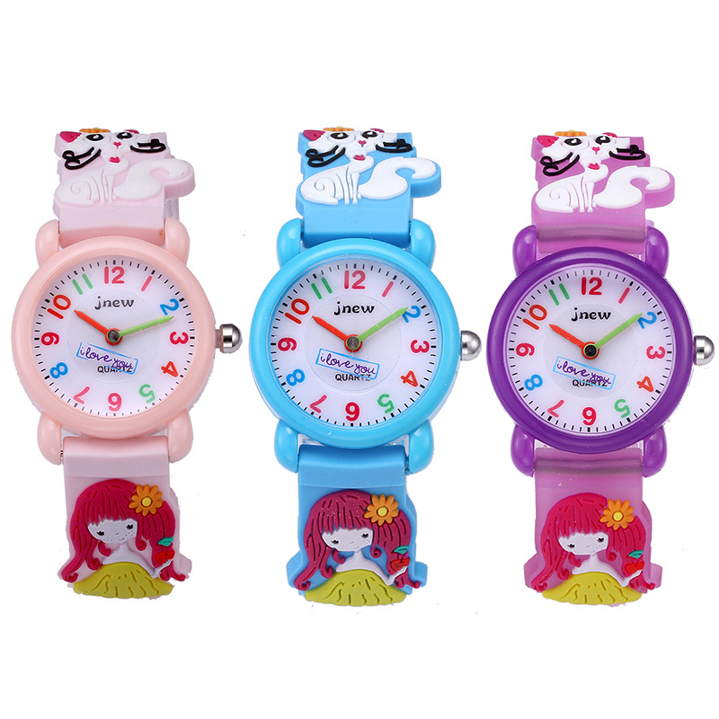 Watch Silicone-Strap Girl Waterproof Cartoon Children's Cute 3d Quartz Multi-Function
