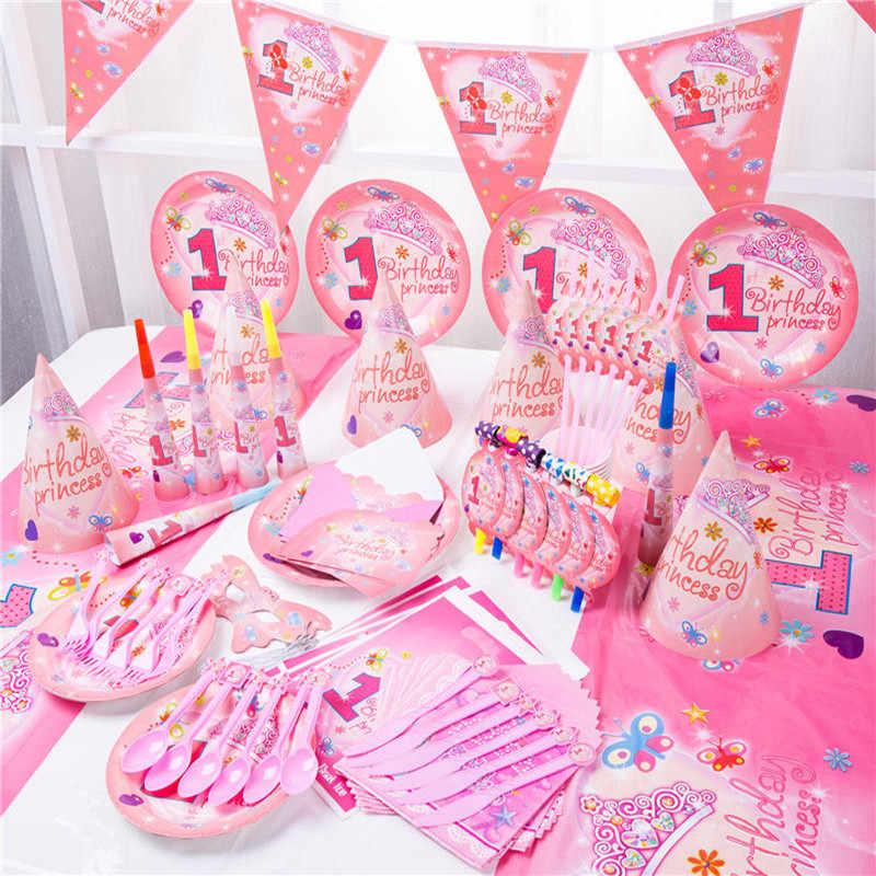 Gadis Pesta Ulang Tahun Mahkota Princess Perlengkapan Pesta Dekorasi Pesta Ulang Tahun Bayi Shower Piring Kertas Sedotan Cangkir