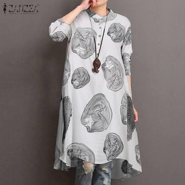 ZANZEA Autumn Long Sleeve Asymmetrical Long Shirt Women Floral Printed Blouse Female Loose Work Top Tunic Chemise Casual Blusas