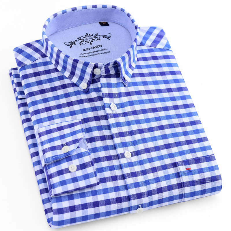 Men's Buttoned Down Full Sleeve Striped Checkered Oxford Shirt Single Patch Pocket Quality Casual Regular-fit Plaid Dress Shirts
